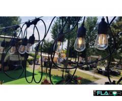 Ghirlanda Luminoasa 15M cu 15 Becuri LED E27, Cablu Negru, Lumina Calda, Exterior