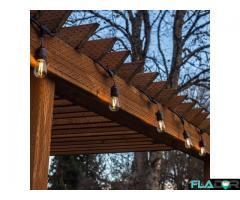Ghirlanda Luminoasa 10M cu 10 Becuri LED E27, Cablu Negru, Lumina Calda, de Exterior