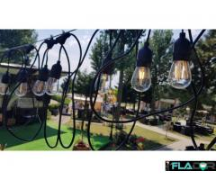Set Ghirlanda Luminoasa 10M cu 10 Becuri Led E27 + Telecomanda Wireless