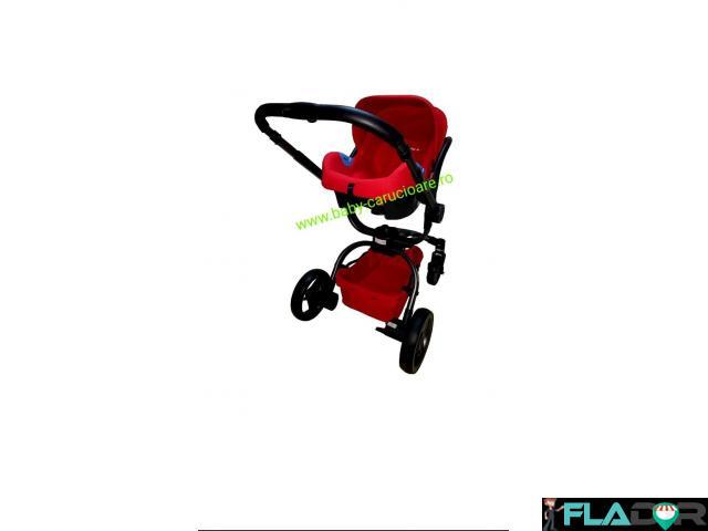 Cărucior nou născut 3 in 1 Baby Care 360° Lux Rosu - 4/4