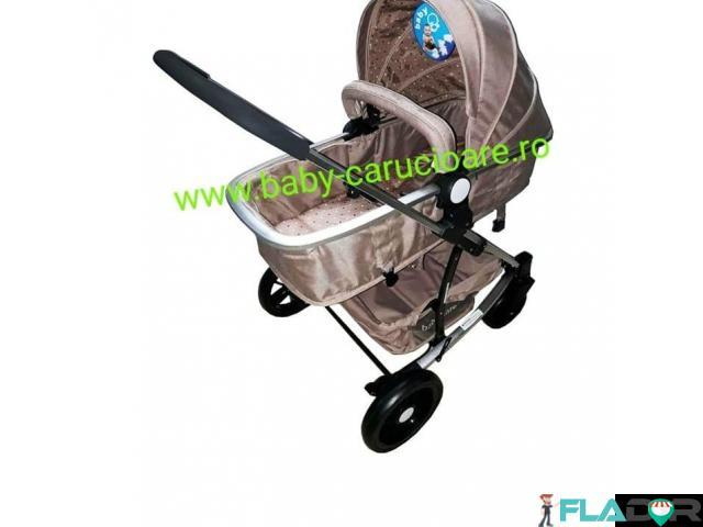 Cărucior nou născut 3 in 1 Baby Care YK 18-19  Maro - 3/4