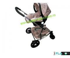 Cărucior nou născut 3 in 1 Baby Care YK 18-19  Maro - Imagine 4/4