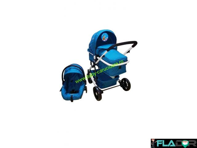 Cărucior nou născut 3 in 1 Baby Care YK 18-19 Turquoise - 1/4