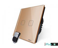 Intrerupator dublu wireless RF touch cu telecomanda Cnskou