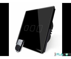 Intrerupator triplu wireless RF touch cu telecomanda Cnskou