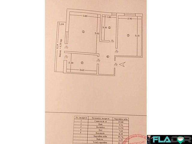 Proprietar vand apartament 2 camere decomandat  62mp utili - 2/3
