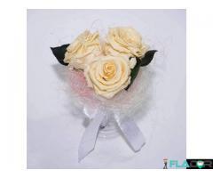 Buchet cununie cu 3 trandafiri criogenati XL (Ø 6,5 cm) - REDUCERE 40 %