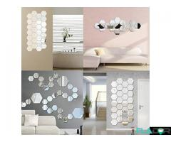 Oglinzi decorative stickere hexagonale - 12 bucati