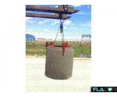 Dispozitiv tip cleste pentru ridicare / manevrarea tuburilor din beton
