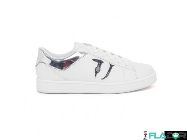 Sneakers dama Trussardi, noi, originali, culoare alba cu logo negru. - 2/3