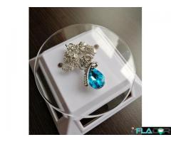Colier Lacrima Cristal, Argintiu, Pietre deosebite din Zirconiu Cubic